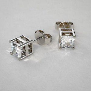2 Ct Princess Cut Diamond 14k Stud Earring White G